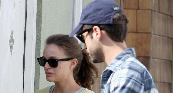 Natalie Portman and Benjamin Millepied with baby Aleph