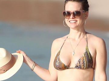 Alice Eve feeling the effects of the cold weather in the UK