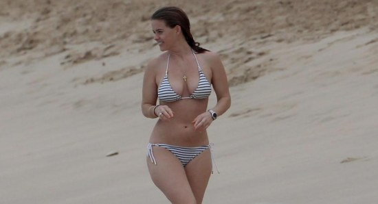 Alice Eve in striped bikini