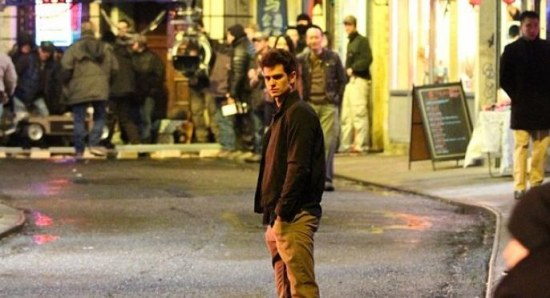 Andrew Garfield filming 'The Amazing Spider-Man 2'
