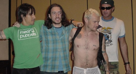 Anthony Kiedis  with the band