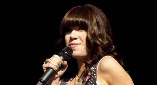 Carly Rae Jepsen performing on stage