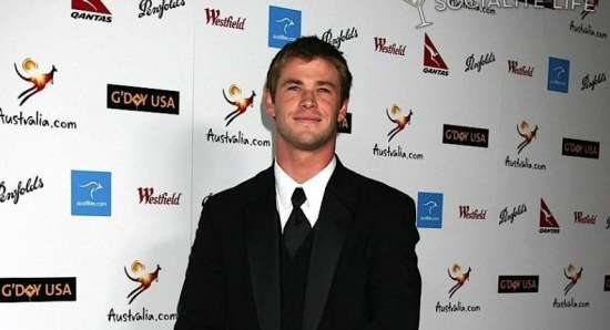 Chris Hemsworth in black suit