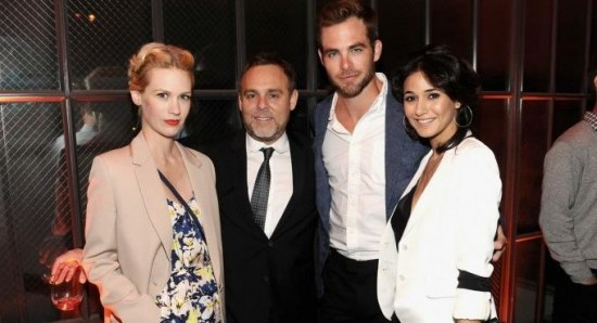 Chris Pine with January Jones and Emmanuelle Chriqui