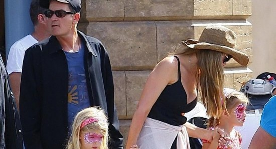 Denise Richards with Charlie Sheen and kids
