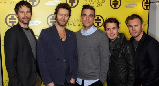 Gary Barlow with the Take That guys