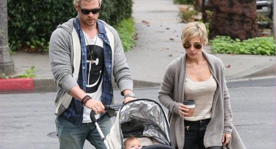 The family take a stroll