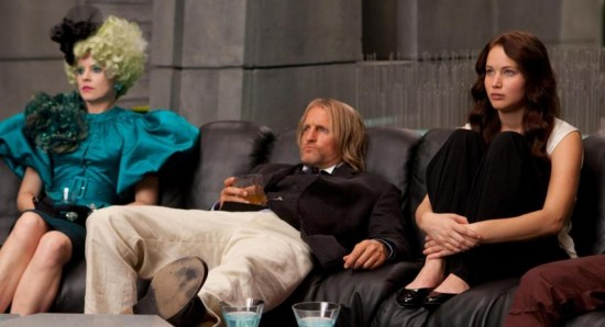 Jennifer Lawrence with Woody Harrelson and Elizabeth Banks