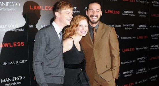 Jessica Chastain with her co-stars in 'Lawless'