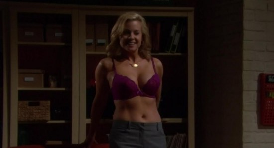 Jessica Collins looking sexy without shirt