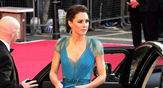Kate Middleton in aqua marine gown