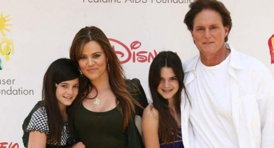 Khloe Kardashian with Bruce Jenner and the Jenner girls