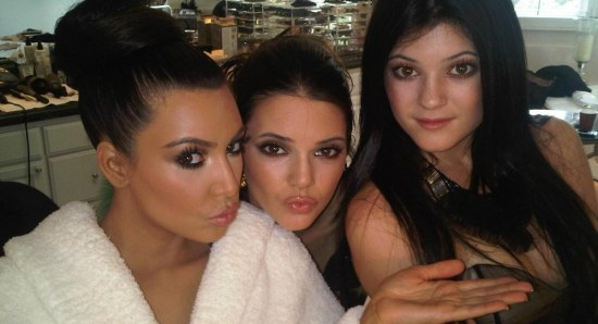 Kim Kardashian with her younger sisters