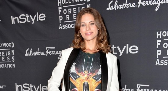 Lyndsy Fonseca in white blazer and printed dress