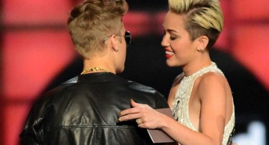 Miley Cyrus with Justin Bieber