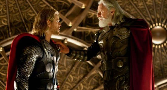 Anthony Hopkins with Chris Hemsworth in Thor