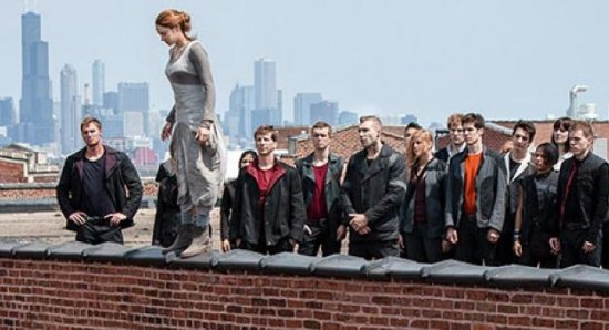 Shailene Woodley with members of the Dauntless faction undergoing initiation