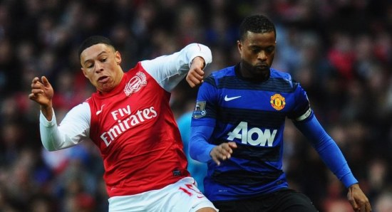 Patrice Evra in action against Arsenal