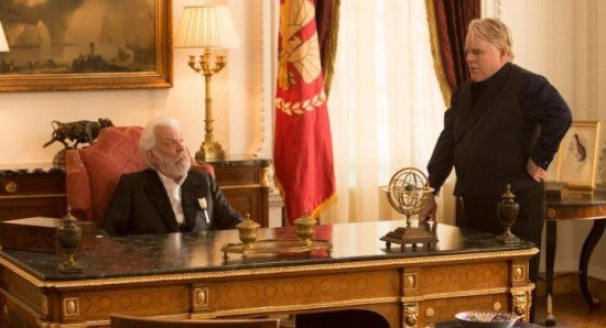 Philip Seymour Hoffman and Donald Sutherland in 'Catching Fire'