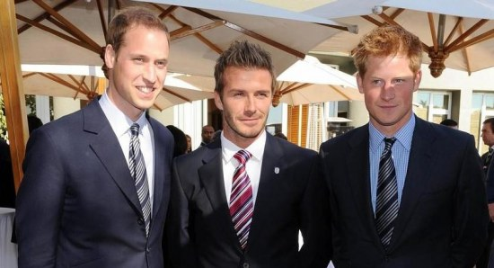 Prince Harry with Prince William and David Beckham