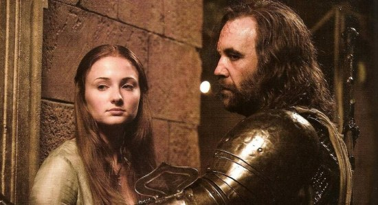 Rory McCann with Sophie Turner in Game of Thrones