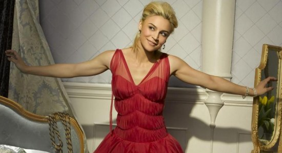 Samaire Armstrong modelling red dress