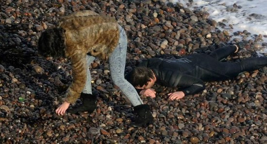 Scarlett Johansson on Under the Skin set