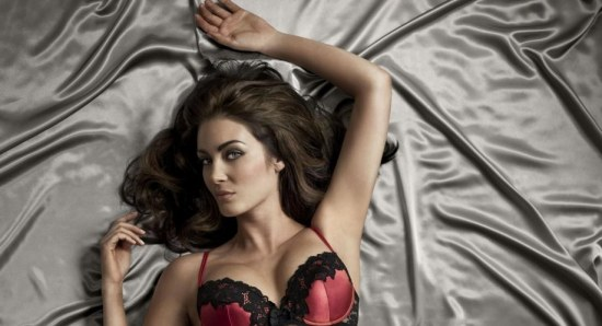 Tanit Phoenix in red and black lingerie