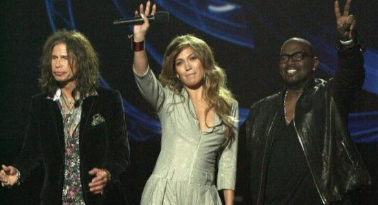 Steven Tyler with his American Idol judges