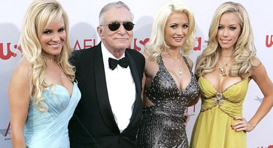 Hugh Hefner with some Playboy girls