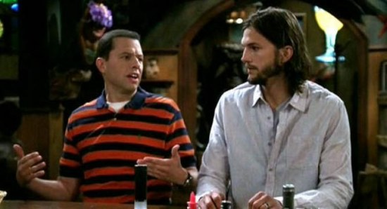 Ashton Kutcher and Jon Cryer in Two and a Half Men