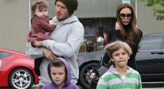 Victoria Beckham with her family