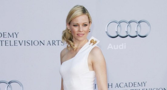 Elizabeth Banks in white dress