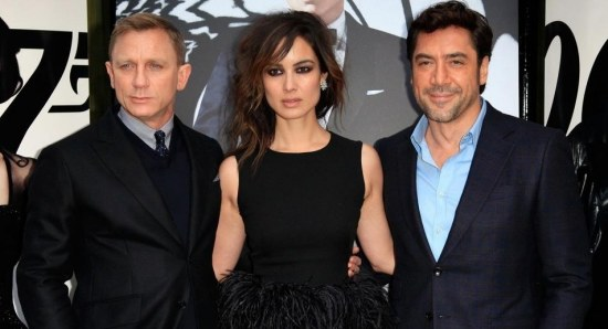Berenice Marlohe with cast from skyfall