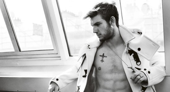 Alex Pettyfer wearing only jacket with no shirt