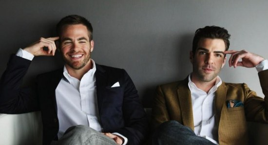 Chris Pine and Zachary Quinto in a press photo