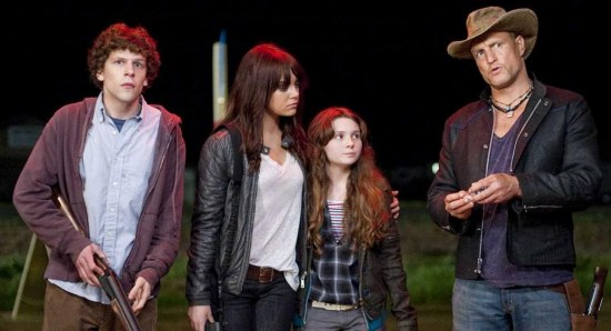 The four stars of the Zombieland movie