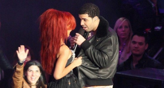 Drake on stage with Rihanna